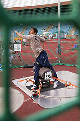 British Open Athletics Championships 2003 games; disabled athlete taking part in a Shot Put event,