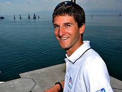 Mathieu Richard, French Match Racing Team, watching the training day at Match Race Germany. Photo:Chris Davies/WMRT