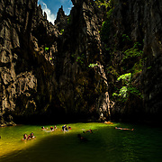 Steep and colorful walls of Secret Lagoon, Palawan, Philippines