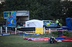© Licensed to London News Pictures. 15/09/2019. London, UK. A police tent at the scene at a children's play area in Jubilee Park in Edmonton, North London where a man, reported to be 30 years old, has bene stabbed to death. A man in his 40's has been arrested. Photo credit: Ben Cawthra/LNP