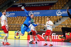 Matej Gaber of Slovenia in action during handball match between National Teams of Slovenia and Poland in Qualification Phase 2 of Men's EHF Euro 2022 Qualifiers, on March 9, 2021 in Arena Zlatorog, Celje, Slovenia. Photo by Vid Ponikvar / Sportida