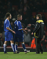 Photo: Marc Atkins.<br /> Arsenal v Cardiff City. FA Youth Cup. 19/02/2007. Matt Smith shakes the hand of his manager at the end of the match.