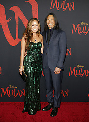 Jason Scott Lee and Diana Chan at the World premiere of Disney's 'Mulan' held at the Dolby Theatre in Hollywood, USA on March 9, 2020.