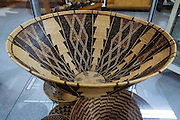 Indian basket woven by Isabel Hanson, circa 1900 (Slater Collection 2001.11.4), displayed at Eastern California Museum, 155 N. Grant Street, Independence, California, 93526, USA. The Museum was founded in 1928 and has been operated by the County of Inyo since 1968. The mission of the Museum is to collect, preserve, and interpret objects, photos and information related to the cultural and natural history of Inyo County and the Eastern Sierra, from Death Valley to Mono Lake.
