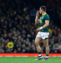 Damian de Allende of South Africa<br /> <br /> Photographer Simon King/Replay Images<br /> <br /> Under Armour Series - Wales v South Africa - Saturday 24th November 2018 - Principality Stadium - Cardiff<br /> <br /> World Copyright © Replay Images . All rights reserved. info@replayimages.co.uk - http://replayimages.co.uk