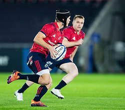 Tyler Bleyendaal of Munster <br /> <br /> Photographer Simon King/Replay Images<br /> <br /> European Rugby Champions Cup Round 1 - Ospreys v Munster - Saturday 16th November 2019 - Liberty Stadium - Swansea<br /> <br /> World Copyright © Replay Images . All rights reserved. info@replayimages.co.uk - http://replayimages.co.uk