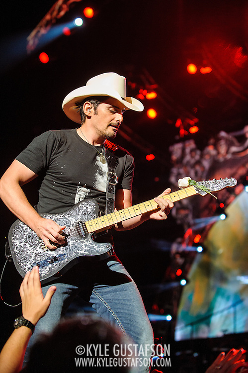 """BRISTOW, VA - June 29th, 2013 - Brad Paisley performs at Jiffy Lube Live in Bristow, VA as part of his Beat This Summer Tour. Paisley released his ninth studio album, Wheelhouse, earlier this year. The album features the singles """"Southern Comfort Zone"""" and Beat This Summer."""" (Photo by Kyle Gustafson/For The Washington Post)"""