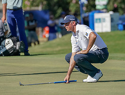 January 11, 2019 - Honolulu, HI, U.S. - HONOLULU, HI - JANUARY 11: Matt Kuchar lines up his putt on the 18th hole during the second round of the Sony Open at the Waialae Country Club in Honolulu, HI. (Photo by Darryl Oumi/Icon Sportswire) (Credit Image: © Darryl Oumi/Icon SMI via ZUMA Press)