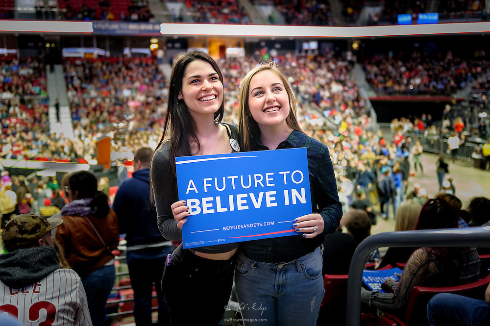 Two young female Bernie Sanders supporters at the Bernie rally in Philadelphia, PA