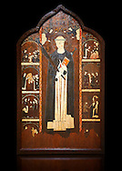 Gothic painted Altarpiece of Saint Peter Martyr by an anonymous Aragon artist. Tempera and varnished metal plate on wood. First third of 14th century. 196.5 x 121.5 x 10 cm. From Barbastre or the monastery of Santa María de Sigena (Villanueva de Sigena, Huesca).. National Museum of Catalan Art, inv no: 015820-000 .<br /> <br /> If you prefer you can also buy from our ALAMY PHOTO LIBRARY  Collection visit : https://www.alamy.com/portfolio/paul-williams-funkystock/gothic-art-antiquities.html  Type -     MANAC    - into the LOWER SEARCH WITHIN GALLERY box. Refine search by adding background colour, place, museum etc<br /> <br /> Visit our MEDIEVAL GOTHIC ART PHOTO COLLECTIONS for more   photos  to download or buy as prints https://funkystock.photoshelter.com/gallery-collection/Medieval-Gothic-Art-Antiquities-Historic-Sites-Pictures-Images-of/C0000gZ8POl_DCqE