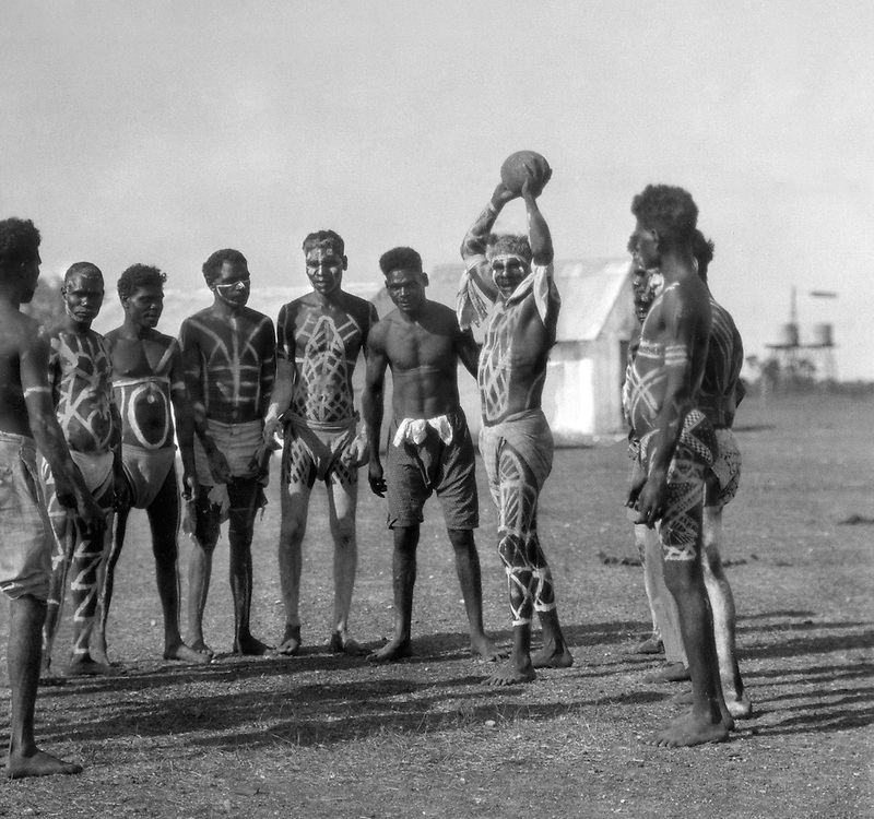 Aborigines Playing Football at the Hermannsburg Lutheran Mission Station, Central Australia, 1930