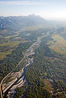 Aerial of the Snake River and the Teton Range