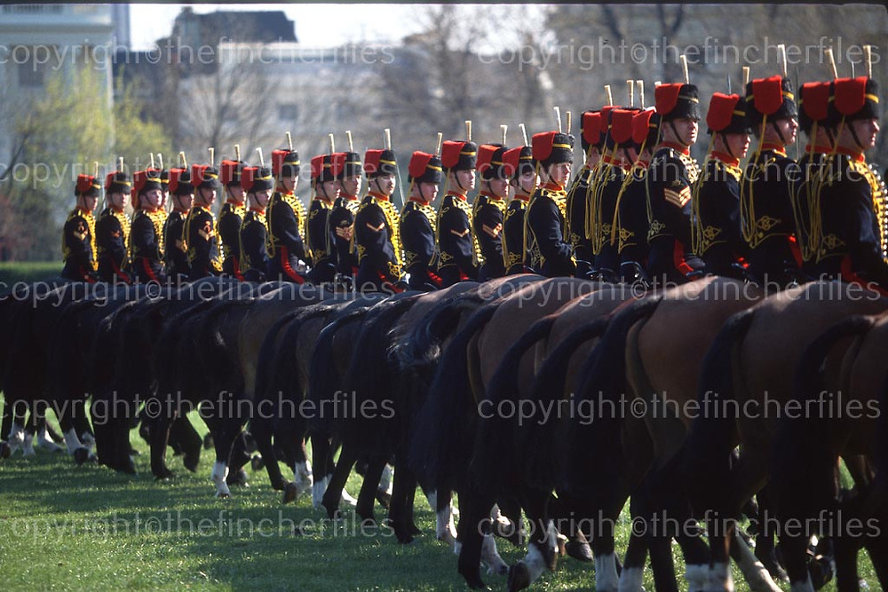 British Army The Kings Troop, Royal Horse Artillery. Regents Park, London April 1990