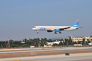 Israel, Ben-Gurion international Airport Arkia Boeing 757-300 landing