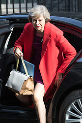 Downing Street, London, April 12th 2016. Home Secretary Theresa May arrives at the weekly cabinet meeting. ©Paul Davey<br /> FOR LICENCING CONTACT: Paul Davey +44 (0) 7966 016 296 paul@pauldaveycreative.co.uk