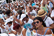 Crowd of Umbanda devotees gathered outside the Church, Every second 2nd Thursday in February thousands of people attend the Lavagem do Bonfim - The washing of Bonfim at the Iglesia do Bonfim - Church of Bonfim in Salvador de Bahia