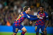 Ansu Fati (right) of FC Barcelona celebrates scoring his team's first goal with Antoine Griezmann of FC Barcelona during the fourth round match of the La Liga 2019-2020 season between FC BARCELONA  and VALENCIA CF at CAMP NOU STADIUM in Barcelona, Spain, september 14, 2019.