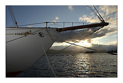 The bow of Belle Adventure, a 94' Bermudan Ketch built by Wm Fife in 1929 sits at Rhu marina...This the largest gathering of classic yachts designed by William Fife returned to their birth place on the Clyde to participate in the 2nd Fife Regatta. 22 Yachts from around the world participated in the event which honoured the skills of Yacht Designer Wm Fife, and his yard in Fairlie, Scotland...FAO Picture Desk..Marc Turner / PFM Pictures