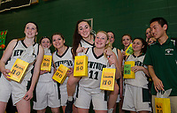 The Newfound Regional girls varsity basketball team celebrates a perfect season following their commanding win of 56 to 30 over Somersworth onThursday evening.  (Karen Bobotas/for the Laconia Daily Sun)