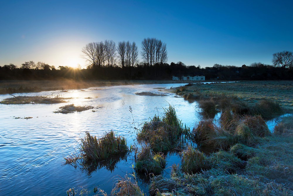 A frosty winter's morning on the River Test at Cow Common, Chilbolton, Hampshire