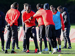 Timothy Fosu-Mensah of Manchester United shares a joke during training - Mandatory by-line: Matt McNulty/JMP - 19/10/2016 - FOOTBALL - Manchester United - Training session ahead of Europa League game against Fenerbahce
