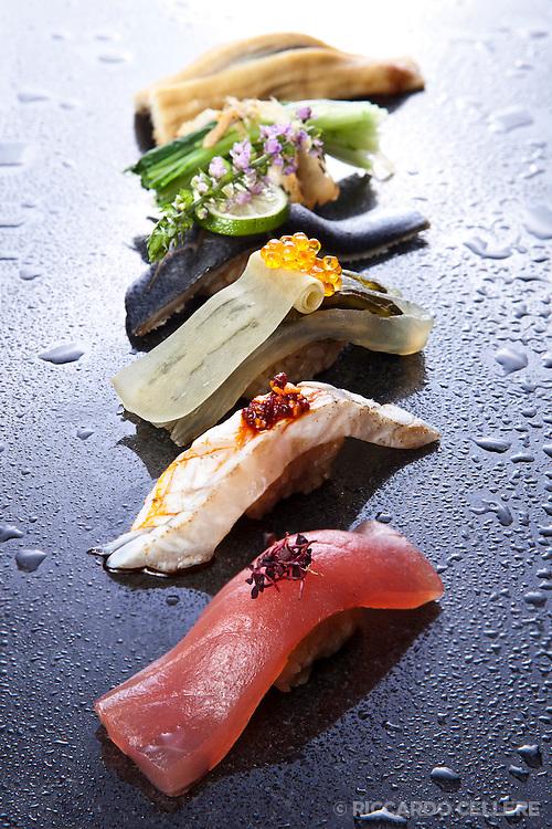Food photography - Kaizen Sushi Bar, Montreal. Chef Keitaro. 2012.