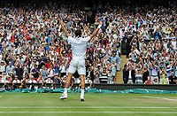 Tennis - 2017 Wimbledon Championships - Week Two, Sunday [Day Thirteen]<br /> <br /> Men Doubles Final match<br /> <br /> Marin Cilic (CRO) vs Rodger Federer (SUI)<br /> <br /> Rodger Federer celebrates winning the match with the crowd on  Centre court <br /> <br /> COLORSPORT/ANDREW COWIE