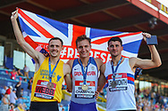 Bronze medalist Jamie WEBB, gold medalist Spencer THOMAS and silver medalist Guy LEARMONTH after the Men's 800m Final during the Muller British Athletics Championships at Alexander Stadium, Birmingham, United Kingdom on 25 August 2019.