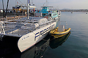 Boats moored in harbour at Corralejo, Fuerteventura, Canary Islands, Spain