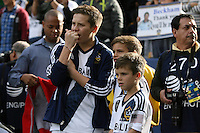 01 December 2012: David Beckham's three sons (from left) Brooklyn Beckham, Romeo Beckham, and Cruz Beckham watch pregame warmups from the field. The Los Angeles Galaxy played the Houston Dynamo at the Home Depot Center in Carson, California in MLS Cup 2012. Los Angeles won the game 3-1.