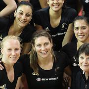 Irene van Dyk, New Zealand (centre) with team mates after the New Zealand V England, New World International Netball Series, at the ILT Velodrome, Invercargill, New Zealand. 6th October 2011. Photo Tim Clayton...