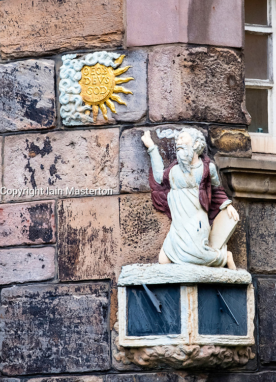 Detail of sundial on facade of John Knox House on the Royal Mile in Edinburgh Old Town, Scotland, UK