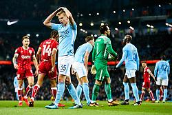 Oleksandr Zinchenko of Manchester City looks frustrated after Bobby Reid of Bristol City wins a penalty - Rogan/JMP - 09/01/2018 - Etihad Stadium - Manchester, England - Manchester City v Bristol City - Carabao Cup Semi Final First Leg.