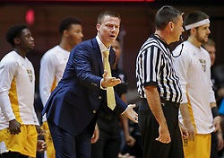 Nov 24, 2018; Morgantown, WV, USA; Valparaiso Crusaders head coach Matt Lottich argues a call during the first half against the West Virginia Mountaineers at WVU Coliseum. Mandatory Credit: Ben Queen-USA TODAY Sports