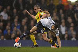 Sunderland's midfielder Lee Cattermole and Tottenham's midfielder Nacer Chadli compete for the ball  - Photo mandatory by-line: Mitchell Gunn/JMP - Tel: Mobile: 07966 386802 07/04/2014 - SPORT - FOOTBALL - White Hart Lane - London - Tottenham Hotspur v Sunderland - Premier League