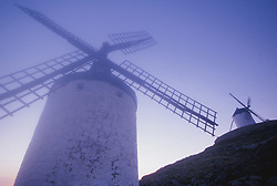 Europe, Spain, Consuegra, historic windmills in fog