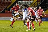 Shrewsbury Town Defender Ro-Shaun Williams clears during the EFL Sky Bet League 1 match between Lincoln City and Shrewsbury Town at Sincil Bank, Lincoln, United Kingdom on 15 December 2020.