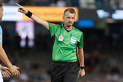 February 23, 2019 - Melbourne, VIC, U.S. - MELBOURNE, VIC - FEBRUARY 23: Referee Peter Green gestures at round 20 of the Hyundai A-League Soccer between Melbourne City FC and Melbourne Victory on February 23, 2019 at Marvel Stadium, VIC. (Photo by Speed Media/Icon Sportswire) (Credit Image: © Speed Media/Icon SMI via ZUMA Press)