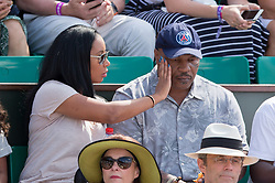 Mike Tyson with wife Lakiha Spicer, Miguel and Milan Tyson in stands during French Tennis Open at Roland-Garros arena on June 03, 2018 in Paris, France. Photo by Nasser Berzane/ABACAPRESS.COM