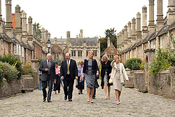© Licensed to London News Pictures. 25/09/2014. WELLS, UK The Countess of Wessex visiting Wells Cathedral school and Wells Cathedral today 25th September 2014. pictured on Vicars' Close, in Wells, Somerset, England, which is claimed to be the oldest purely residential street with its original buildings all surviving intact in Europel. Photo credit : Jason Bryant/LNP