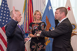 September 5, 2017 - Arlington, VA, United States - U.S. Secretary of Defense James Mattis, left, administers the oath of office to Ryan D. McCarthy for the 33rd Under Secretary of the Army as his wife Jennifer McCarthy look on during a ceremony at the Pentagon September 5, 2017 in Arlington, Virginia. (Credit Image: © Amber I. Smith/Planet Pix via ZUMA Wire)