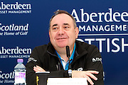 The Aberdeen Asset Management Scottish Open Golf Championship 2012 At Castle Stuart Golf Links..Final Round Saturday 14-07-12.. .Press conference on the Future of the Scottish Open,  with First Minster Alex Salmond,  George O' Grady of The European Tour, Martin Gilbert Chief Exec of Aberdeen Asset management and Roger Conrhill of Aberdeen Asset Managent,  during the FinalRound of The Aberdeen Asset Management Scottish Open Golf Championship 2012 At Castle Stuart Golf Links. The event is part of the European Tour Order of Merit and the Race to Dubai....At Castle Stuart Golf Links, Inverness, Scotland...Picture Mark Davison/ ProLens PhotoAgency/ PLPA.Saturday 14th July 2012.