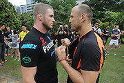 """Face off between the challenger and eventual winner, Russian Vitaly Bigdash, Top middleweight champion, fights reigning champion Igor Svirid, One middleweight world champion from Kazakstan<br /><br />MMA. Mixed Martial Arts """"Tigers of Asia"""" cage fighting competition. Top professional male and female fighters from across Asia, Russia, Australia, Malaysia, Japan and the Philippines come together to fight. This tournament takes place in front of a ten thousand strong crowd of supporters in Pelaing Stadium. Kuala Lumpur, Malaysia. October 2015"""