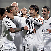 Besiktas's Simao SABROSA (C) celebrate his goal with team mate during their Turkey Cup semi final soccer firsth match Besiktas between Gaziantepspor at the Inonu stadium in Istanbul Turkey on Wednesday 06 April 2011. Photo by TURKPIX