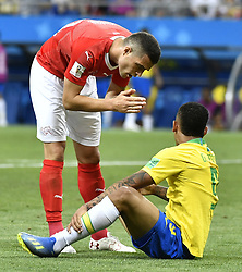 ROSTOV-ON-DON, June 17, 2018  Granit Xhaka (L) of Switzerland talks with Gabriel Jesus of Brazil during a group E match between Brazil and Switzerland at the 2018 FIFA World Cup in Rostov-on-Don, Russia, June 17, 2018. (Credit Image: © Chen Yichen/Xinhua via ZUMA Wire)