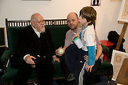 SIR PETER BLAKE; GAVIN TURK; CAESAR TURK. Preview evening for the London Art Fair. Business Design Centre. Islington. London. 13 January 2009.  *** Local Caption *** -DO NOT ARCHIVE -Copyright Photograph by Dafydd Jones. 248 Clapham Rd. London SW9 0PZ. Tel 0207 820 0771. www.dafjones.com<br /> SIR PETER BLAKE; GAVIN TURK; CAESAR TURK. Preview evening for the London Art Fair. Business Design Centre. Islington. London. 13 January 2009.
