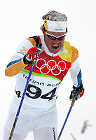 OL 2006 Langrenn menn 15km,<br />Pragelato Plan<br />17.02.06 <br />Foto: Sigbjørn Hofsmo, Digitalsport <br /><br />Mathias Fredriksson SWE Sverige