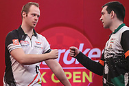 Max Hopp wins his third round match against William O'Connor during the Ladbrokes UK Open at Stadium:MK, Milton Keynes, England. UK on 5 March 2021.