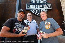Jesse James Dupree, lead vocalist of Jackyl (and part of the Full Throttle Saloon and Jesse James Bourbon) and Michael Ballard of the Full Throttle Saloon did a bottle signing with their new spirits at the Harley-Davidson Rally Point on the corner of Main and Harley-Davidson Way during the Sturgis Black Hills Motorcycle Rally. SD, USA. Saturday, August 10, 2019. Photography ©2019 Michael Lichter.