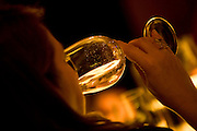 Belo Horizonte_MG, Brasil...Mulher bebendo uma taca de vinho branco durante o festival gastronomico Saber e Saber...A woman drinking a glass of white wine during the gastronomy festival Sabor e Saber...FOTO: BRUNO MAGALHAES / NITRO..